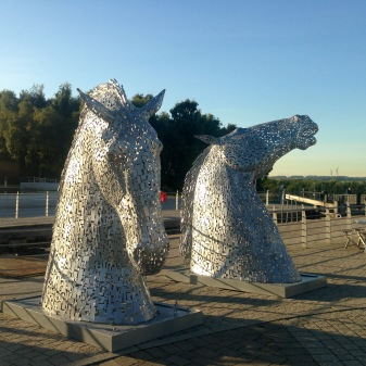 Small Kelpies beside the Falkirk Wheel.