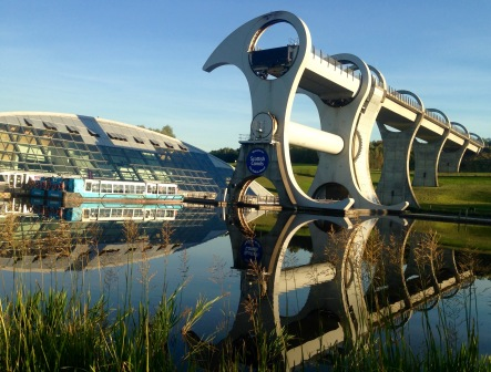 Evening reflections; the Falkirk Wheel.