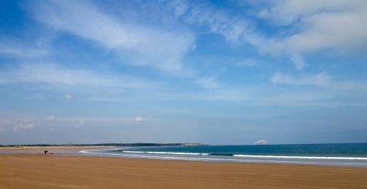 Beach at Dunbar, Bass Island in the distance.