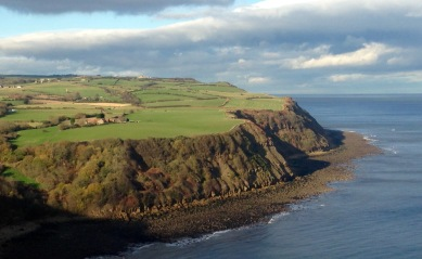 The winding clifftop path, taken from higher ground.