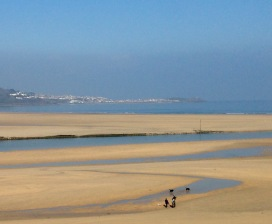 Looking back to St. Ives from Hayle Beach,