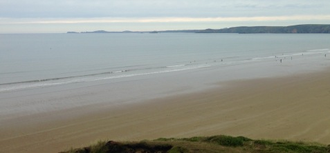 Misty evening, descending to Newgale Sands.