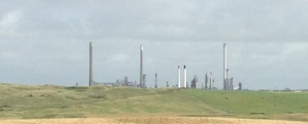 Over the hill to the next walk, Oil Refinery, Milford Haven.