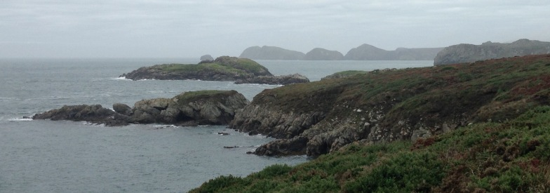 Porthlysgi Bay, towards the most westerly point, in early morning fog.