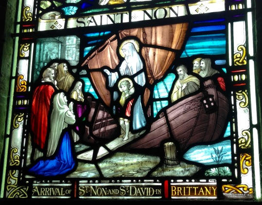 Stained glass, St. Non's Chapel.