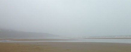 The beach at Harlech in thick fog.
