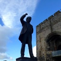 Statue of Lloyd George outside Caernarfon Castle.
