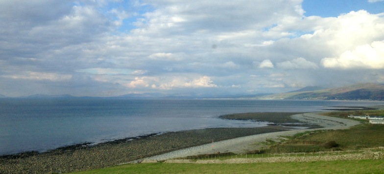 Looking towards the Lleyn peninsula, from the train near Barmouth.