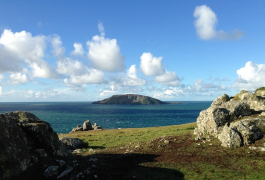 First view of Bardsey Island (Ynys Enlli) from Mynydd Mawr, the far end of the Lleyn peninsula.