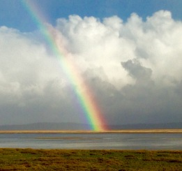 Welcome home! Rainbow landing on the English side of the River Dee.