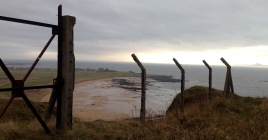 Wartime defences; looking towards Elie.