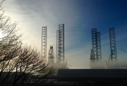 Misty morning; the docks at Dundee.
