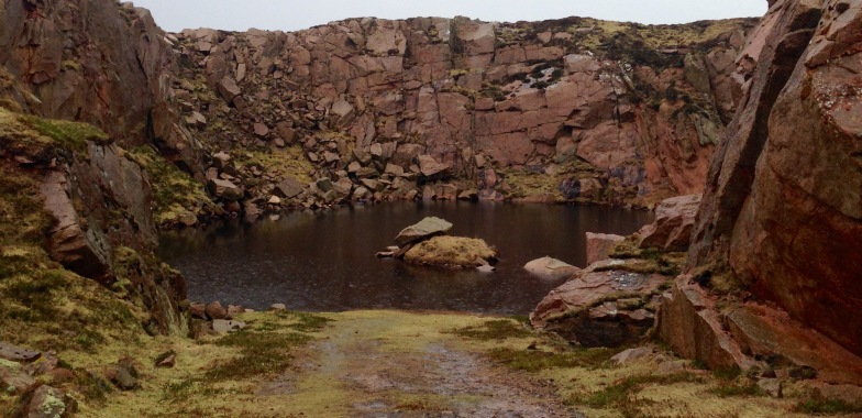Flooded quarry: Peterhead Granite.