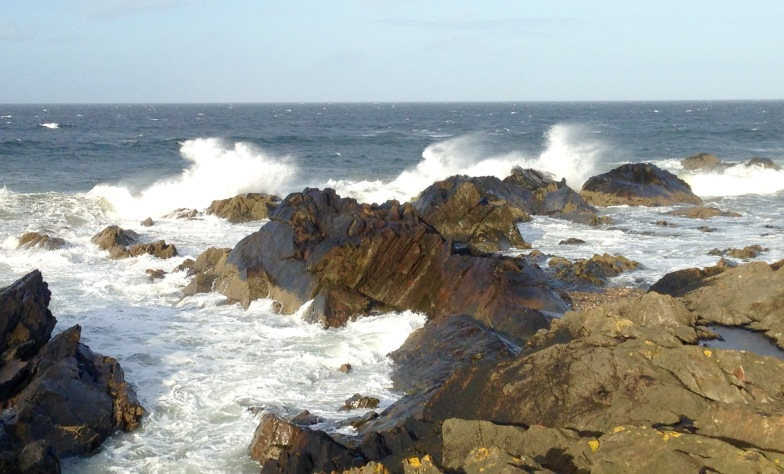 Gales whipping up the waves; near Portsoy.