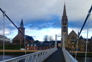 Inverness, from the pedestrian bridge over the River Ness.