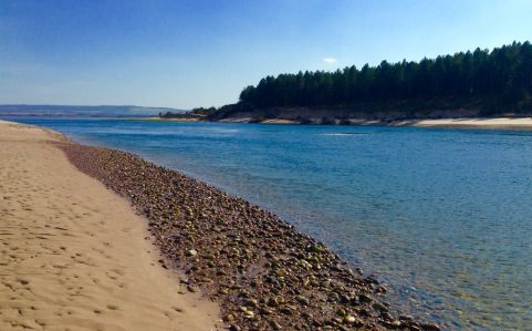 Narrow channel at the mouth of Findhorn Bay.