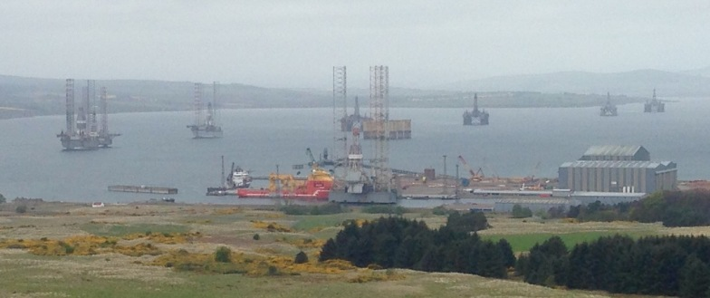 Early morning mist: the oil rig fabrication yard at Nigg.