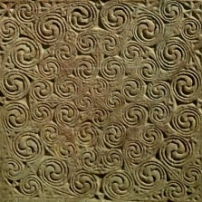 Detail of Pictish standing stone slab with geometric carving; c.800AD.