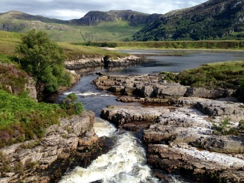 River rushing into Loch Eriboll.