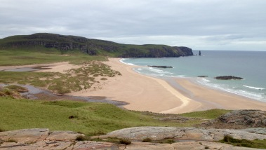 Sandwood Bay with Am Buachaille pillar; often referred to as the most beautiful beach in Great Britain.