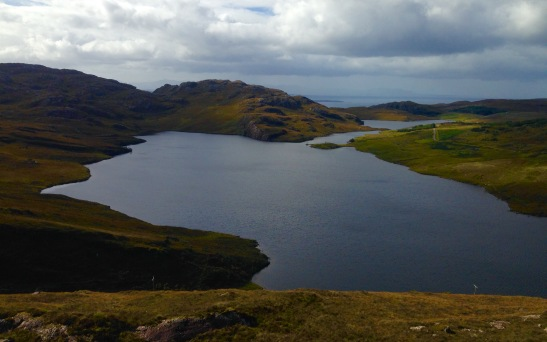 View from the top: looking back towards Lower Diabaig and the seaward end of Loch Torridon.