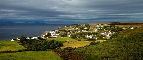 The village of Gairloch in a ray of morning sunshine.