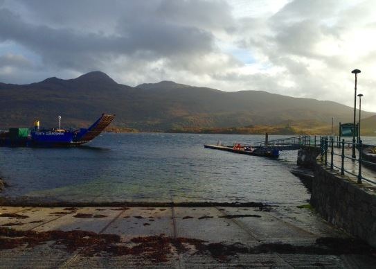 The slipway at Kyle of Lochalsh; Isle of Skye beyond.