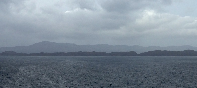 The view from Applecross: Isles of Skye and Raasay in silhouette.