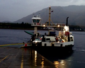 The Corran Ferry; first crossing. Early one rainy morning.