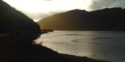 Late afternoon, looking back towards the narrow waist of Loch Ailort.
