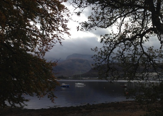 Ben Nevis in the fog; looking across Loch Eil.