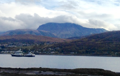 Looking across Loch Eil to Fort William and Ben Nevis.