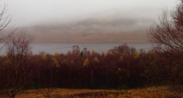 On the way to Lochaline: walking beside Loch a' Choire in fog and rain, just beyond Kingairloch.