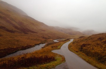Following the remote single track B road to Lochaline. As much of it as I could see in the fog.