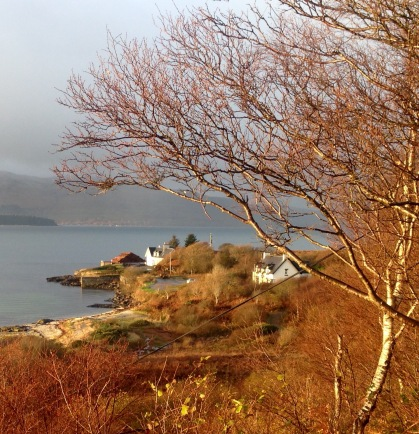 Lochaline with the Isle of Mull in the distance.