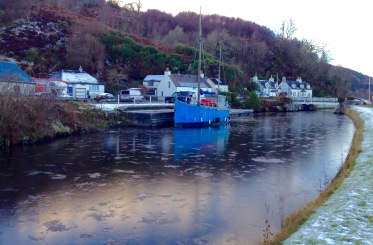 The frozen Crinan Canal at Bellanoch.