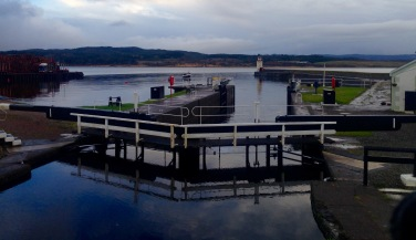 Lock gates at the Southern end of the Crinan Canal where the Canal flows into Loch Fyne.