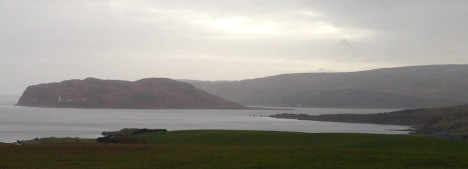 Approaching Campbeltown Loch; the Mull of Kintyre in the distance.