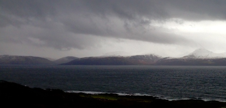 What a difference a day makes! Near Claonaig on the east side of the Kintyre peninsula, looking towards the Isle of Arran.