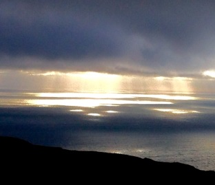View from the top. Light on the sea from the top of the Mull.