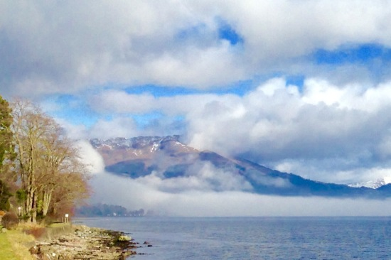 Morning mist slowly clearing. Looking North up Loch Long from Blairmore Farm.