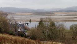 The Crinan Canal near the swing bridge at Bellanoch. In the rain.
