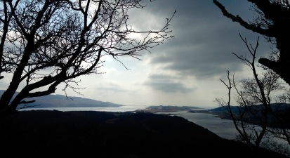From Barr Mor, Taynish; looking towards Linne Mhuirich (right) and the mouth of Loch Sween (left).