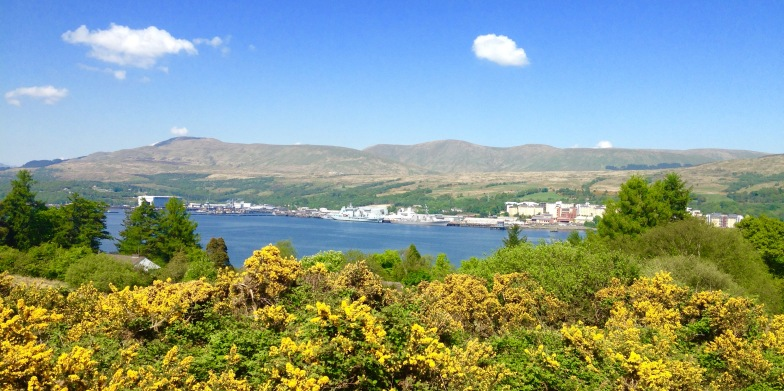"Walking over the top of the Kilcreggan ""peninsula"" looking over Loch Gare to Faslane."