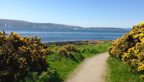 "Walking round the Ardmore ""peninsula"" - looking across the Firth of Clyde towards Gourock."